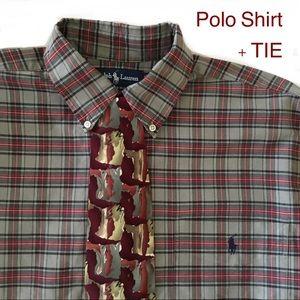 Ralph Lauren Big Shirt Size M Vintage 90's + Tie